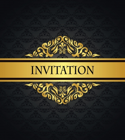 Vintage seamless wallpaper with a gold frame. Can be used as invitation    Vector