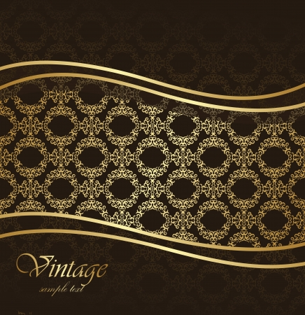 Stylish card with seamless damask wallpaper.  Vector