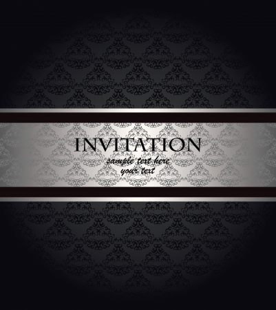 silver ribbon: Vintage seamless wallpaper with a silver ribbon. Can be used as invitation