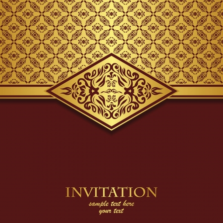 royal rich style: Vintage card with a seamless pattern. It can be used as an invitation      Illustration