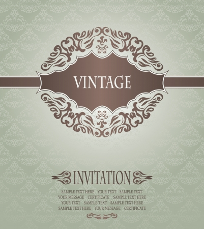 Elegant invitation with vintage seamless background in pastel colors       Vector