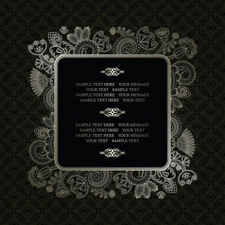calligraphy frame: Marco de la vendimia en un fondo oscuro transparente con decoraci�n floral