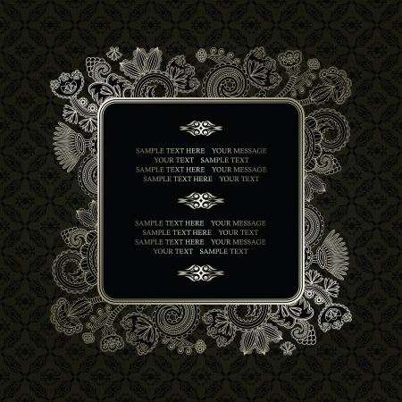 Vintage frame on a dark seamless background with floral decoration      Vector
