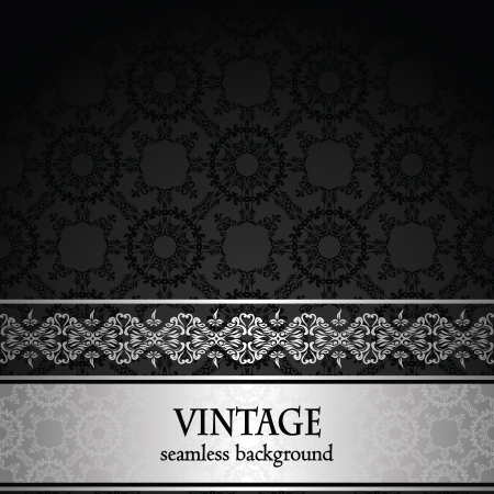 Vintage seamless wallpaper with a silver ribbon. Can be used as invitation