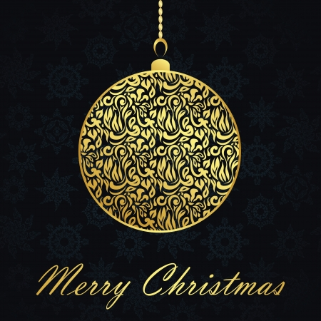 Christmas card with gold ball on seamless background Stock Vector - 16832959