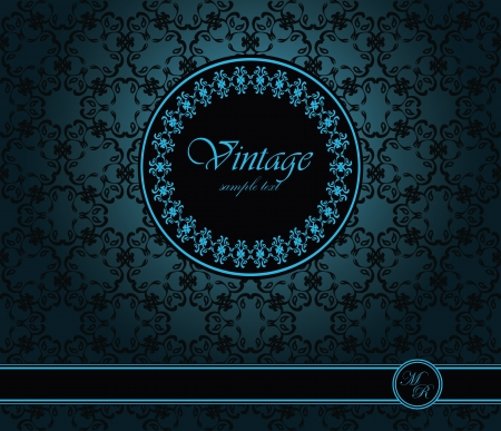Vintage seamless wallpaper with a ribbon and frame. Can be used as greeting card or invitation    Vector
