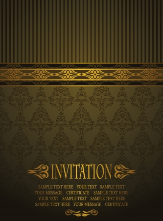 Elegant invitation with vintage seamless background     Vector