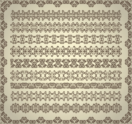 Set of vintage ornaments for decoration    Vector