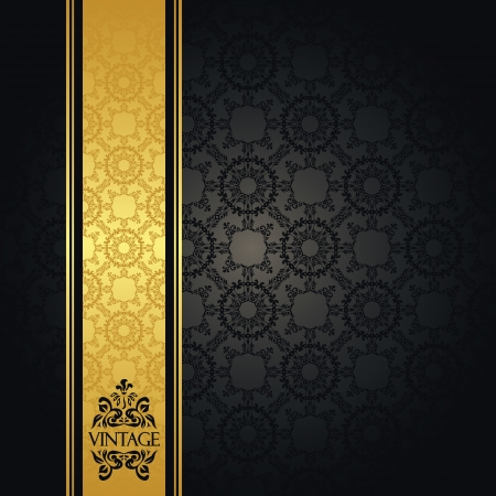 Vintage seamless wallpaper with a gold ribbon  Can be used as invitation or card