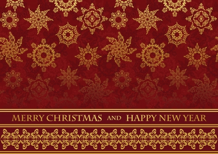 Christmas card on seamless background with snowflakes Vector