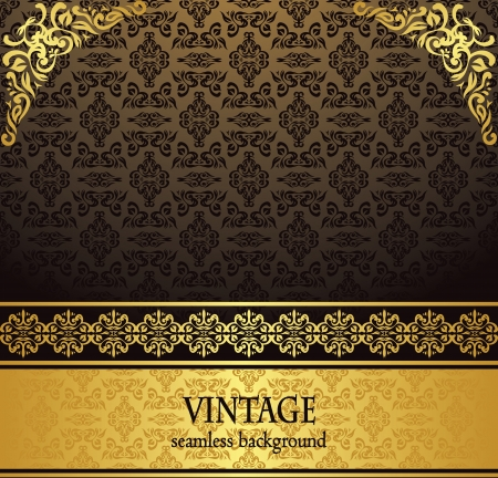 Vintage seamless wallpaper with a gold ribbon. Can be used as invitation
