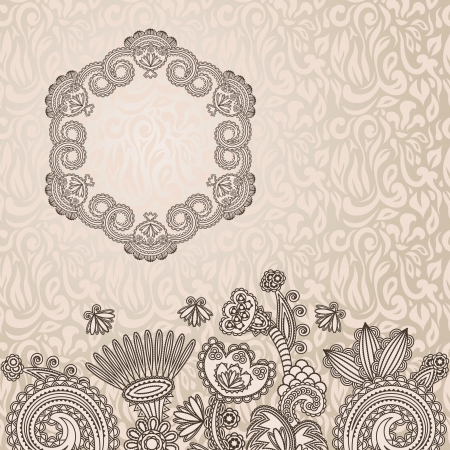 place for text: Floral pattern on seamless background with frame and place for text