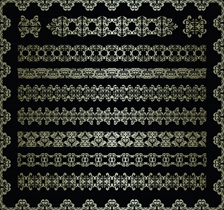 Set of vintage ornaments for decoration on a dark background Stock Vector - 16832941