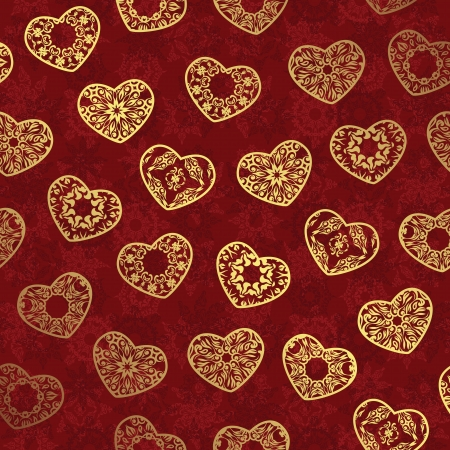 Seamless wallpaper with gold hearts on a red background Vector