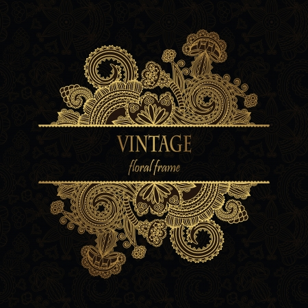 vintage background pattern: Elegant floral pattern on a dark seamless background