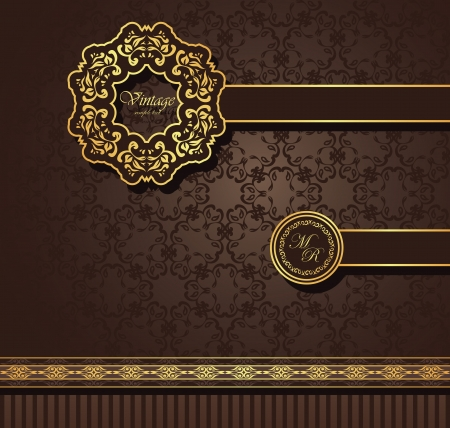 gold brown: Vintage seamless wallpaper with a ribbon and frame. Can be used as greeting card