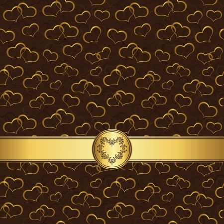 romance image: Seamless wallpaper with hearts and gold ribbon on a dark background. Original design