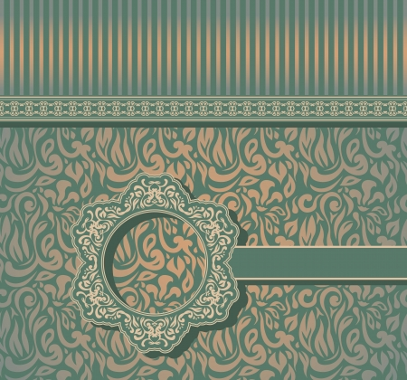 Vintage seamless wallpaper with a ribbon and frame in pastel colors  Can be used as greeting card            Vector