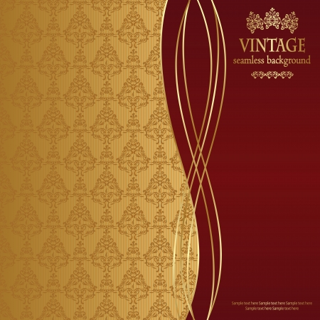 vintage background: Vintage seamless wallpaper. Can be used as greeting card or invitation      Illustration
