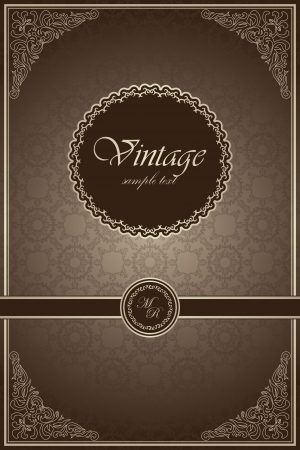 Seamless background with floral frame in retro style