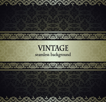 Vintage seamless wallpaper with a silver ribbon. Can be used as invitation Stock Vector - 17176352