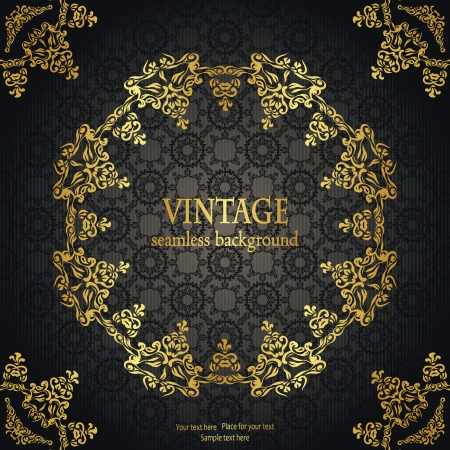 Vintage seamless background with a gold frame in retro style      Illustration