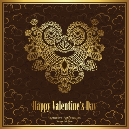Romantic greeting card with floral heart on the day of lovers      Stock Vector - 17176363
