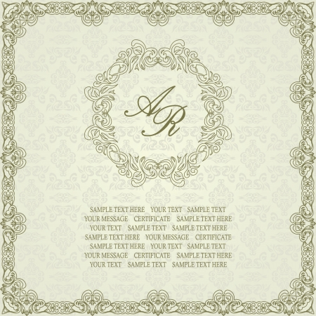 ornate swirls: Seamless background with floral frame in retro style