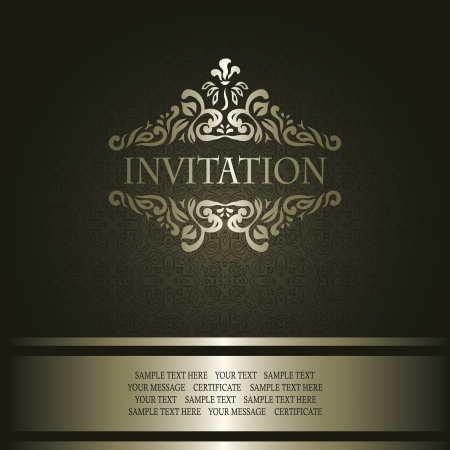 Vintage seamless wallpaper with a ribbon and frame. Can be used as invitation    Illustration