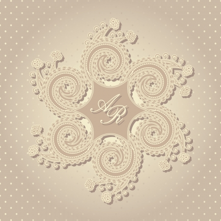 Stylish wedding invitation with round floral pattern in pastel colors   Vector