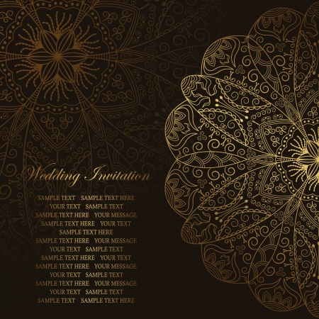 Elegant floral pattern in gold on a dark background. Stylish design. Can be used as a wedding invitation    Vector