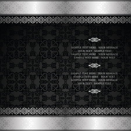 Vintage seamless wallpaper with a silver frame Stock Vector - 17217816
