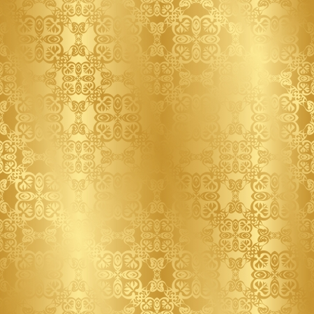 gold background: Seamless vintage background in gold. Seamless wallpaper. Retro style Illustration