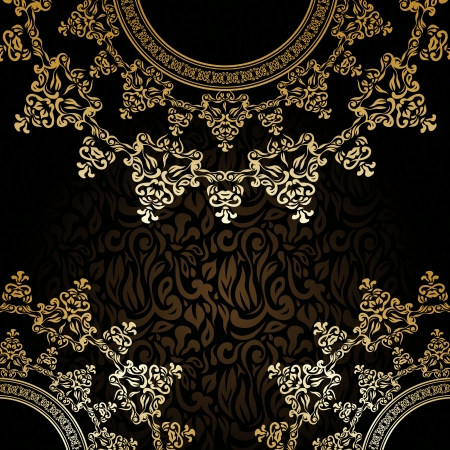 Stylish invitation with round lace pattern on a dark floral background Vector
