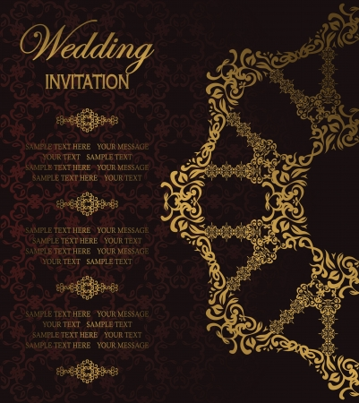 Elegant pattern in gold on a dark background  Stylish design  Can be used as a wedding invitation Vector