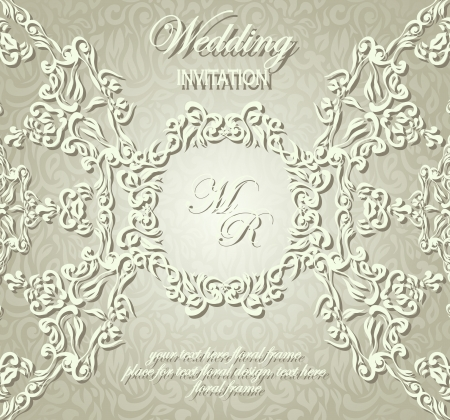 Stylish wedding invitation with lace pattern in pastel colors