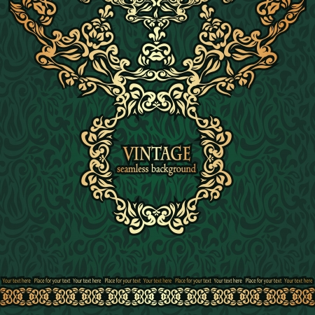 Vintage seamless wallpaper with a frame  Can be used as greeting card Vector