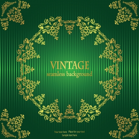 Vintage striped background in green with a gold frame in retro style Vector