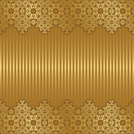 Vintage frame on striped background in gold      Vector