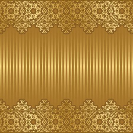 gold brown: Vintage frame on striped background in gold      Illustration
