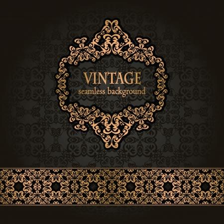 luxe: Vintage seamless background avec un cadre dor� et un ruban de style r�tro