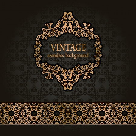 stylish decoration: Vintage seamless background with a gold frame and ribbon in retro style      Illustration