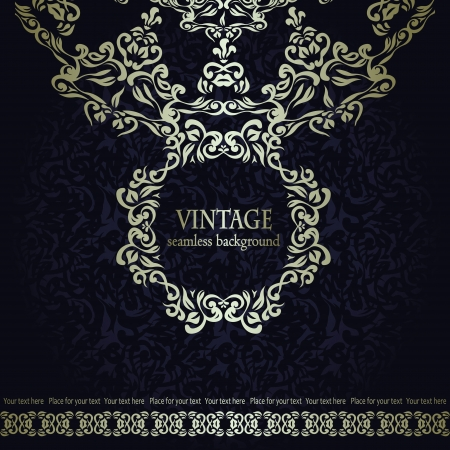 Vintage seamless background with frame and ribbon. Retro style Vector