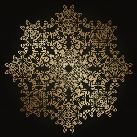 Round lace pattern in gold. Vintage design    Vector