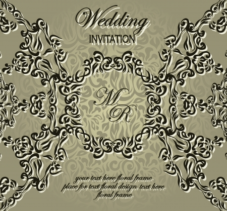 Stylish wedding invitation with lace pattern   Vector