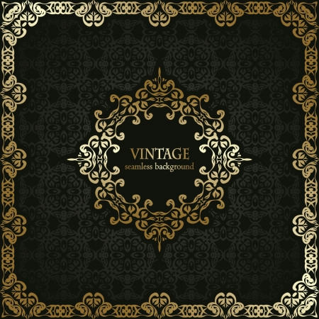 Vintage seamless background with a gold frame in retro style. Stylish design
