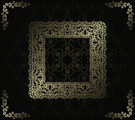Seamless background with vintage frame in retro style      Vector