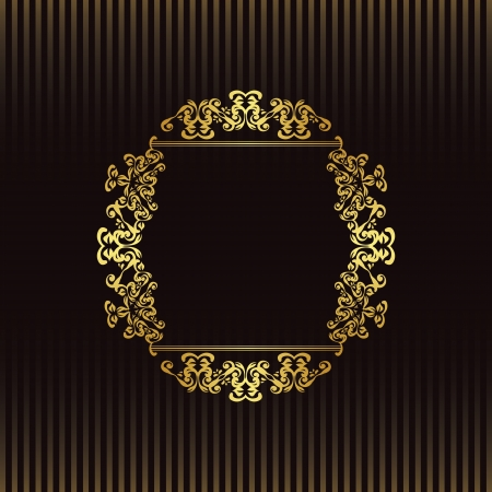 Striped background with a gold frame in retro style. Vintage design. Can be used as card, invitation and more     Vector