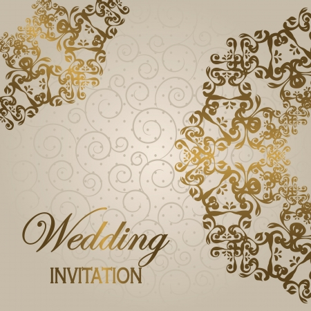 Stylish wedding invitation with round lace pattern on a light background with swirls