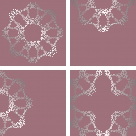 Vector set consisting of a round floral pattern and three elegant card in pastel colors    Vector